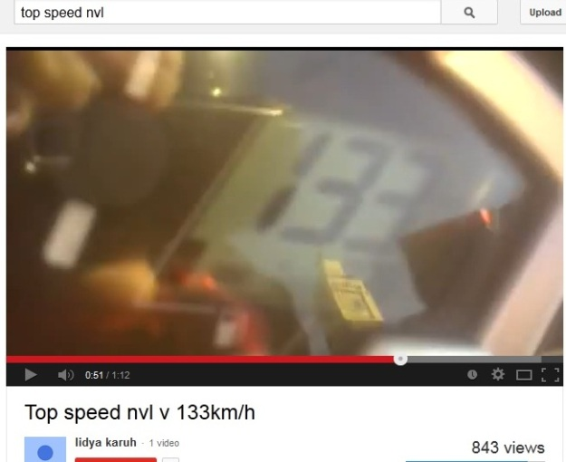 Salah satu video top speed NVL di youtube...tembus 133 km/jam, not bad :D